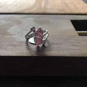 PINK and SILVER heart ring